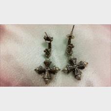Barbara Bixby Cultured Pearl Maltese Cross Hoop Earrings