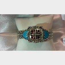 CAROLYN POLLACK / Relios 925 Turquoise Amazonite Reversible Bangle Cuff Bracelet