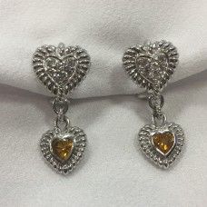 Judith Ripka Citrine Dangle Heart Earrings