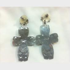 Navajo Sterling Silver  Malachite Cross Earrings - W. Begay
