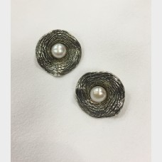 Vintage H.G. Israel Sterling Silver Pearl Earrings