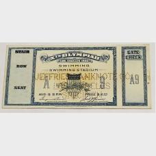 1932 10th Olympiad Los Angeles Jeffries Banknote Co. Specimen Ticket