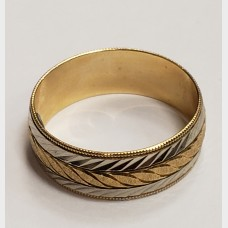 14K Yellow and White Gold Men's Band
