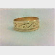 14K Men's Yellow Gold Ocean Wave Wedding Band