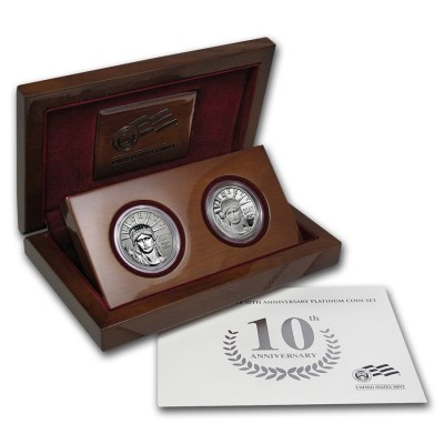 2007 Platinum American Eagle 10th Anniversary 2 Coin Set