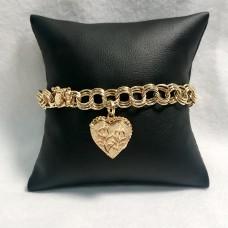14K Yellow Gold Heart Locket Bracelet