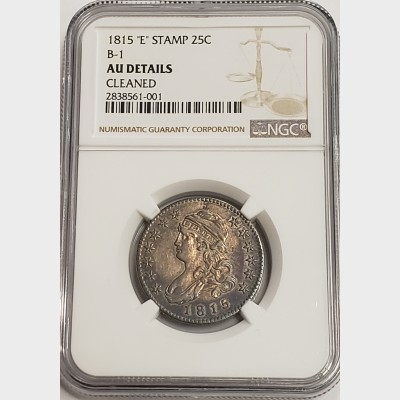 1815 P Capped Bust Quarter NGC AU Details Cleaned