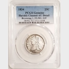 1834 Capped Bust Quarter PCGS AU Detail Browning 1 FS-901 O/F