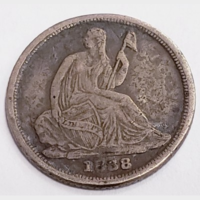 1838-O Seated Liberty Silver Half Dime F KEY DATE