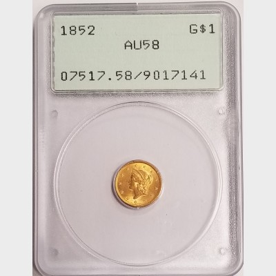 1852 $1 Gold Liberty Head Coin PCGS AU58 OGL Rattler