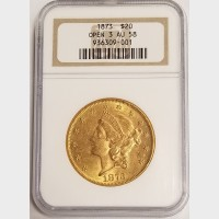 1873 $20 Gold Liberty Open 3 NGC AU58
