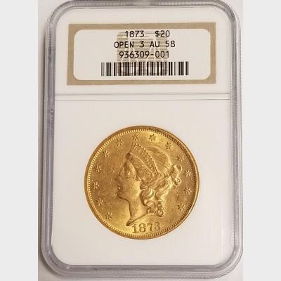 1873 $20 Gold Liberty Open 3 NGC AU58