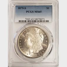 1879-S Morgan Silver Dollar PCGS MS65