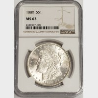 1880 Morgan Silver Dollar NGC MS63