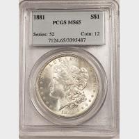1881 Morgan Silver Dollar PCGS MS65