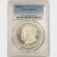 1881-S Morgan Silver Dollar PCGS MS66PL