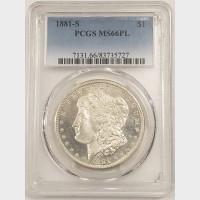 1881-S Morgan Silver Dollar PCGS MS66PL