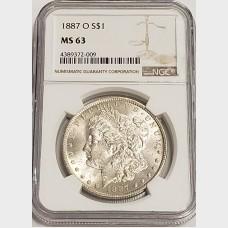 1887-O Morgan Silver Dollar NGC MS63