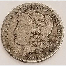 1890-CC Morgan Silver Dollar VG RAW