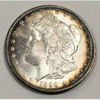 1890 Morgan Silver Dollar CH BU Peripheral Toning
