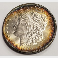 1900 Morgan Silver Dollar Peripheral Toning AU