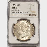 1902 Morgan Silver Dollar NGC MS63