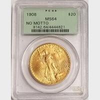 1908 $20 Saint-Gaudens Double Eagle PCGS MS64 NM