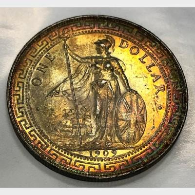 1909-B United Kingdom Silver Trade Dollar Toned AU