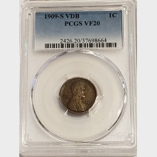 1909-S VDB Lincoln Wheat Cent PCGS VF20