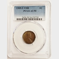 1909-S VDB Lincoln Wheat Cent PCGS AU-50