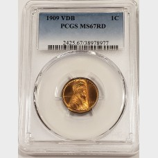 1909 VDB Lincoln Wheat Cent PCGS MS67RD