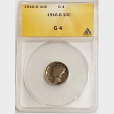 1916-D Mercury Silver Dime ANACS G4