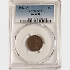 1922-D Lincoln Wheat Cent Weak D PCGS F12