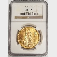 1927 $20 Double Eagle Saint Gaudens Gold Coin NGC MS65+