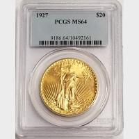 1927 $20 Double Eagle Saint Gaudens Gold Coin PCGS MS64
