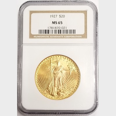 1927 $20 Double Eagle Saint Gaudens Gold Coin NGC MS65
