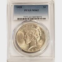 1928 Peace Dollar PCGS MS62