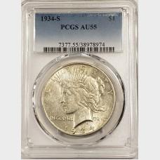 1934-S Silver Peace Date PCGS AU55