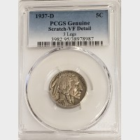 1937-D Buffalo Nickel 3 Legs PCGS Genuine