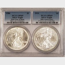 1986 and 2016 2 Coin Silver American Eagle Set PCGS MS69