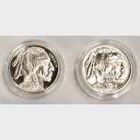 2001 Indian Buffalo Silver 2 Coin Set Box COA