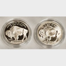 2001 Indian Buffalo Silver 2 Coin Set Box COA