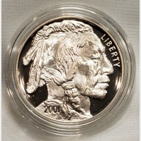 2001 Indian Buffalo Silver Proof Coin Box COA