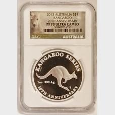 2013 Silver Australia Kangaroo $1 Coin NGC PR70 Ultra Cameo