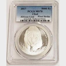 2017 Republic of Chad 5000 Francs African Lion 1 oz Silver Coin PCGS MS70 First Strike