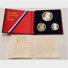1776-1976 Bicentennial 40% Silver Proof 3 Coin Set Eisenhower Kennedy Washington