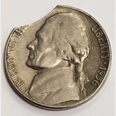 1956 Jefferson Nickel Clipped Planchet Error
