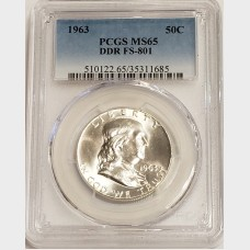 1963 Franklin Silver Half Dollar DDR FS-801