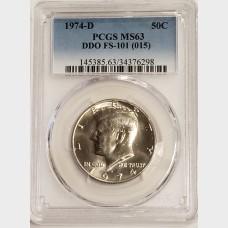 1974-D Kennedy Half Dollar DDO FS-101 (015) PCGS MS63