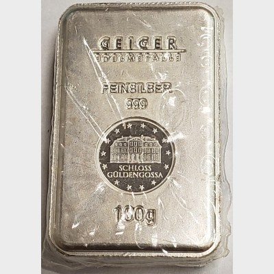 Geiger 100g Sealed 999 Fine Silver Bar